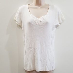 White stag cream white lace front ribbed blouse